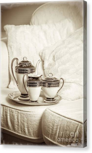 Tea Set Canvas Print - Antique Tea Set by Amanda Elwell