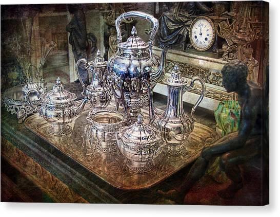 Antique Tiffany Sterling Silver Coffee Tea Set Canvas Print