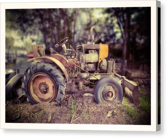 Excavators Canvas Print - Antique Tractor Home Built by Yo Pedro