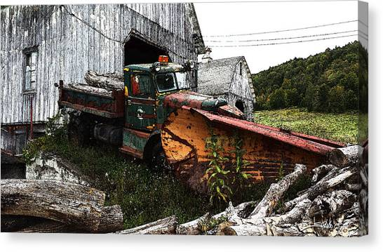 Antique Truck With Plow Canvas Print