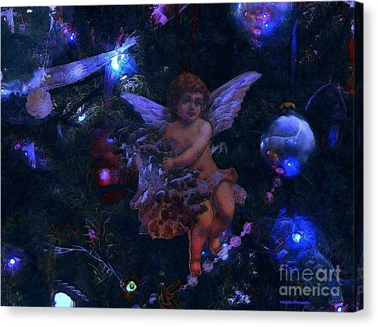Antiqued Angel Blue Canvas Print by Roxy Riou