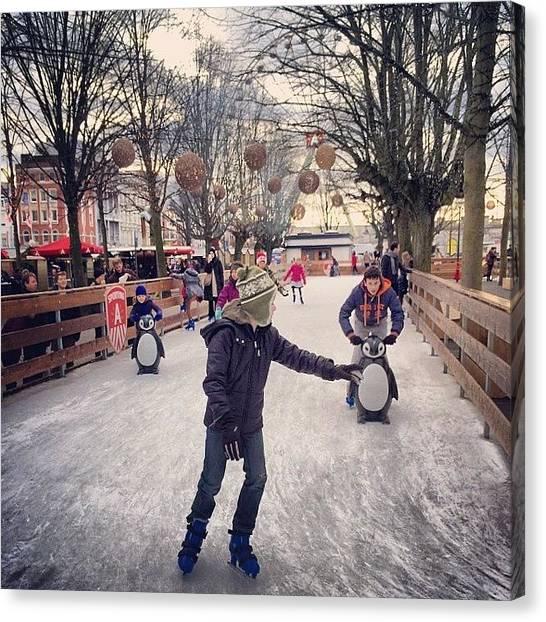Ice Skating Canvas Print - #antwerp #ice #skating #surrealistic by Rannjan Joawn