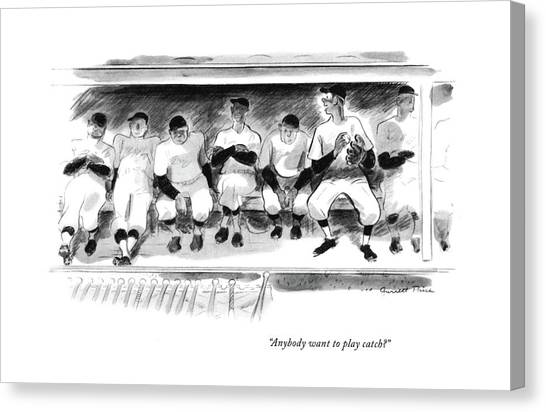 Baseball Players Canvas Print - Anybody Want To Play Catch? by Garrett Price
