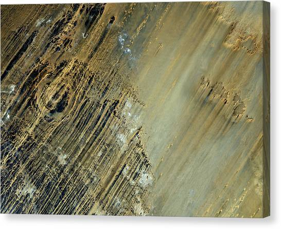 Satellite Canvas Print - Aorounga Crater Chad True Colour Satellite Image by Anonymous