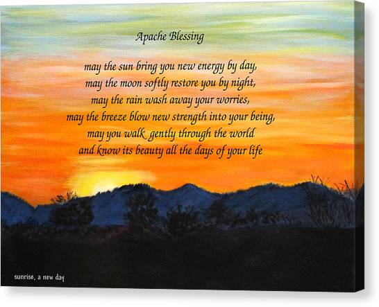 Canvas Print featuring the painting Apache Blessing-sunrise by Linda Feinberg