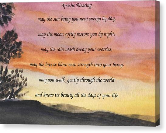 Apache Blessing With Sunset Canvas Print
