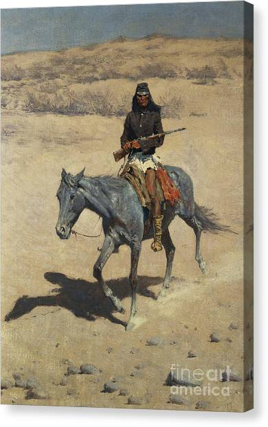 Scouting Canvas Print - Apache Scout  by Frederic Remington