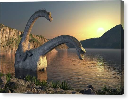 Brontosaurus Canvas Print - Apatosaurus Dinosaurs Mating by Roger Harris