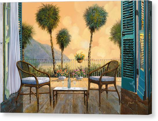 White Wine Canvas Print - Aperitivo Al Tramonto by Guido Borelli