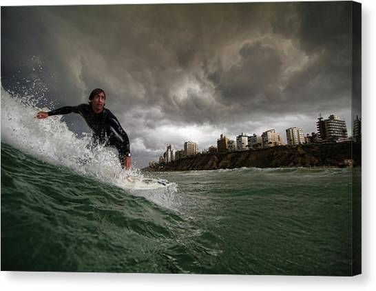 Israeli Canvas Print - Apocalyptic Surfer by Assaf Gavra