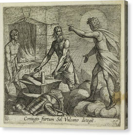 Vulcans Canvas Print - Apollo At Vulcan's Forge by British Library
