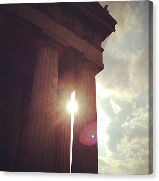 The Parthenon Canvas Print - Apollo Visits Athena At The Parthenon by Cathy Brockway