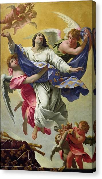 Saint Louis Canvas Print - Apotheosis Of St. Louis, 1639-42 Oil On Canvas by Simon Vouet