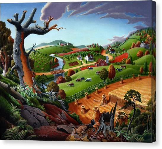 Amish Canvas Print - Appalachian Fall Thanksgiving Wheat Field Harvest Farm Landscape Painting - Rural Americana - Autumn by Walt Curlee