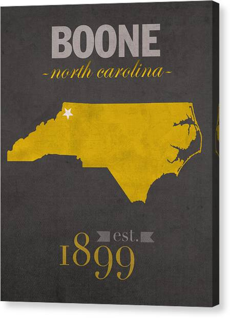 Sun Belt Canvas Print - Appalachian State University Mountaineers Boone Nc College Town State Map Poster Series No 010 by Design Turnpike