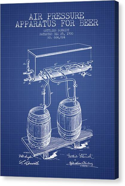Beer Canvas Print - Apparatus For Beer Patent From 1900 - Blueprint by Aged Pixel
