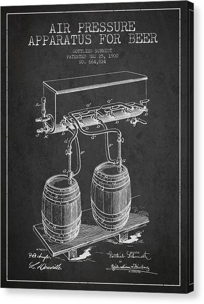 Keg Canvas Print - Apparatus For Beer Patent From 1900 - Dark by Aged Pixel