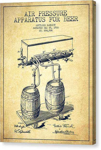 Keg Canvas Print - Apparatus For Beer Patent From 1900 - Vintage by Aged Pixel