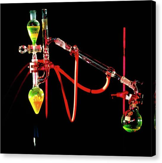 Apparatus Used For Chemical Distillation Canvas Print by David Taylor/science Photo Library