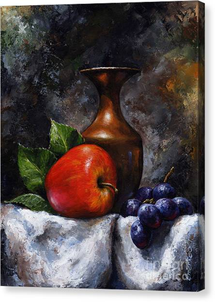 Apple And Grapes Canvas Print