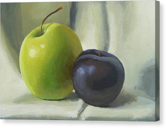 Apple And Plum Canvas Print by Peter Orrock
