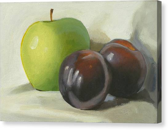 Apple And Plums Canvas Print by Peter Orrock