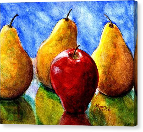 Apple And Three Pears Still Life Canvas Print