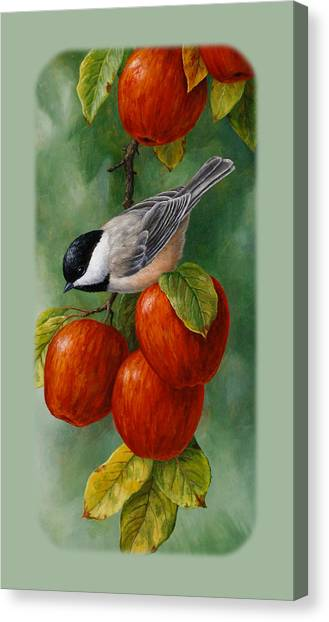 Chickadees Canvas Print - Apple Chickadee Iphone5 Case V1 by Crista Forest