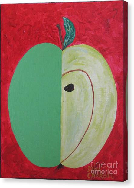 Apple In Two Greens 02 Canvas Print by Dana Carroll