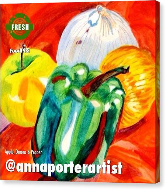 Onions Canvas Print - Apple, Onions And Pepper A Digital Edit by Anna Porter