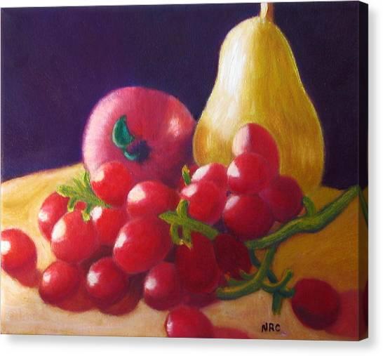 Apple Pear Grapes Canvas Print