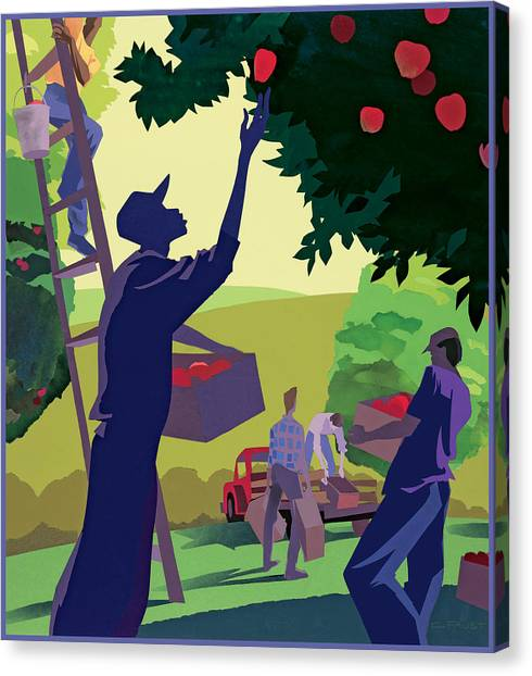 Apple Pickers Canvas Print