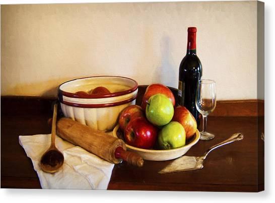 Crock Canvas Print - Apple Pie Impressions by Cricket Hackmann
