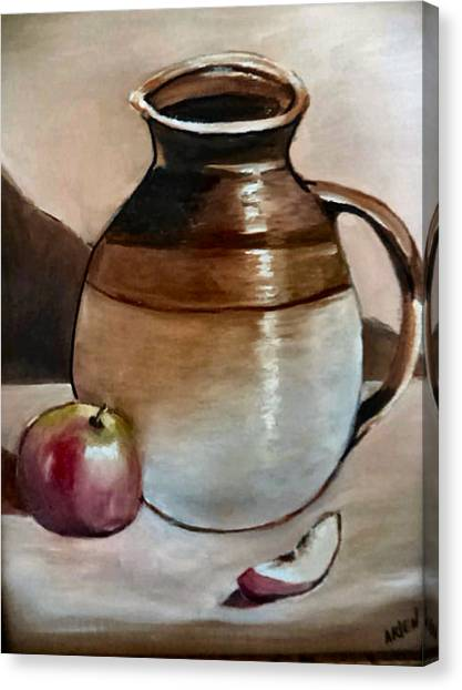 Apple With Ceramic Jug. Canvas Print