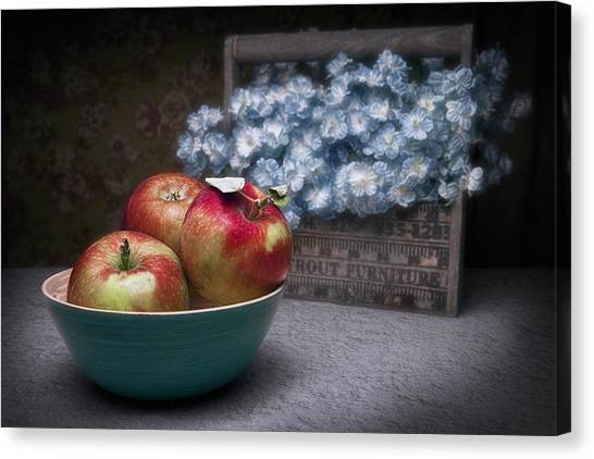 Fruit Baskets Canvas Print - Apples And Flower Basket Still Life by Tom Mc Nemar
