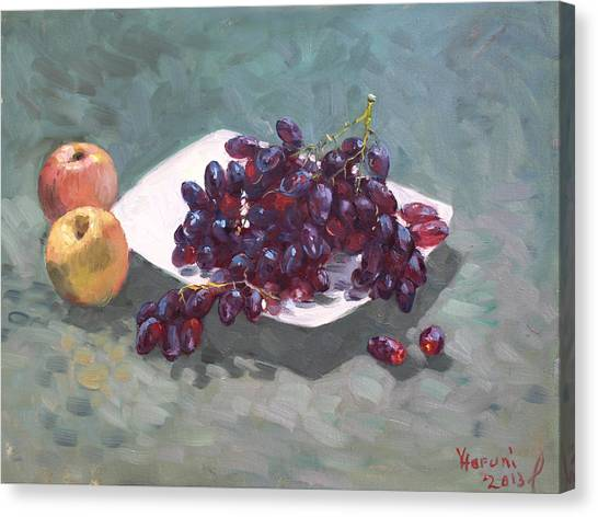 Grapes Canvas Print - Apples And Grapes by Ylli Haruni