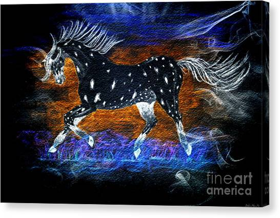 Leapords Canvas Print - Appoloosa Night Runner by Debbie Portwood