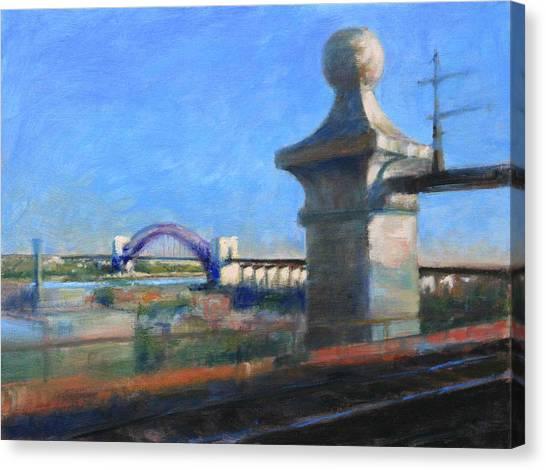 Approaching Hell Gate Bridge By Rail Canvas Print
