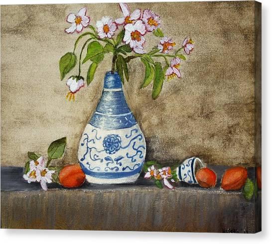 Apricot Still Life Ll Canvas Print by Kristie Zweig Christensen
