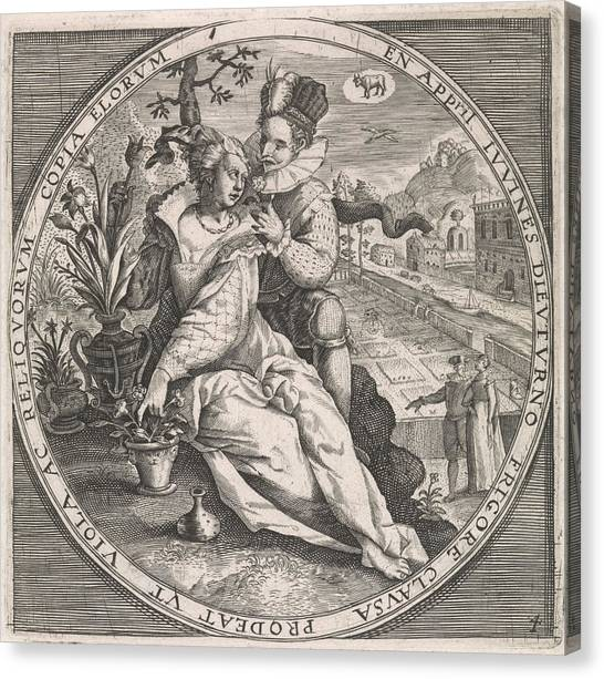Influence Canvas Print - April Loving Couple, Anonymous, Crispijn Van De Passe by Anonymous And Crispijn Van De Passe (i) And Maerten De Vos