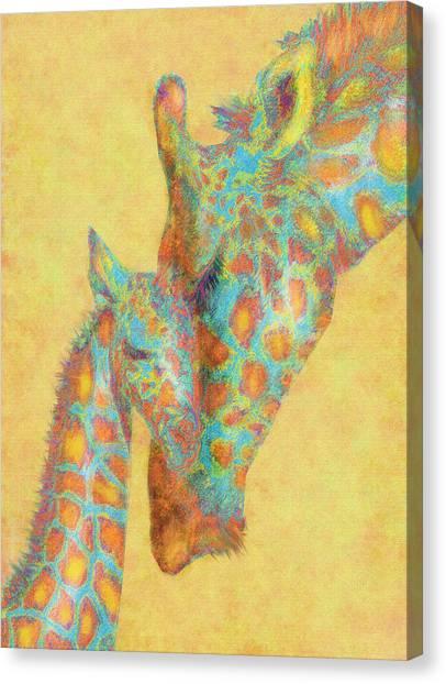 Aqua And Orange Giraffes Canvas Print