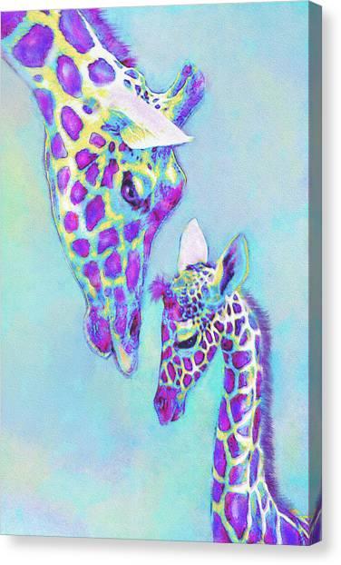 Aqua And Purple Loving Giraffes Canvas Print