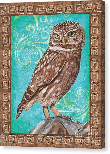 Greek Art Canvas Print - Aqua Barn Owl by Debbie DeWitt