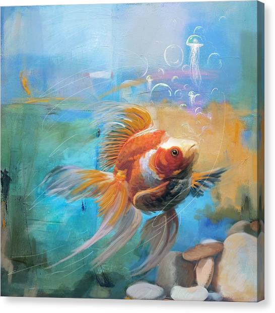 Goldfish Canvas Print - Aqua Gold by Catf