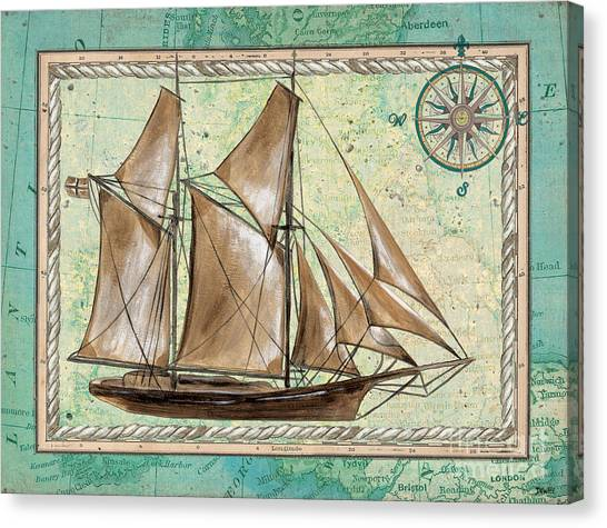 Pirate Canvas Print - Aqua Maritime 2 by Debbie DeWitt