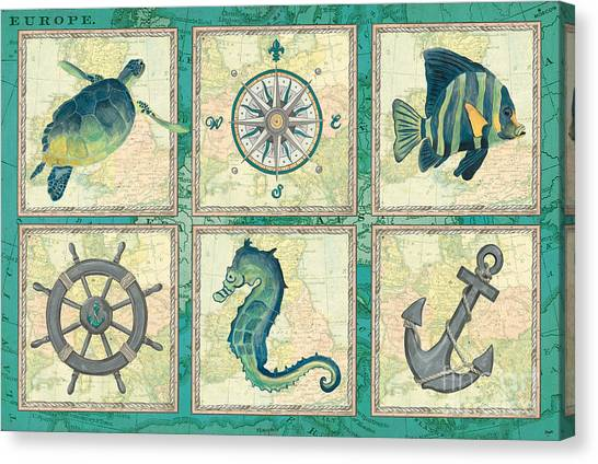 Seahorses Canvas Print - Aqua Maritime Patch by Debbie DeWitt