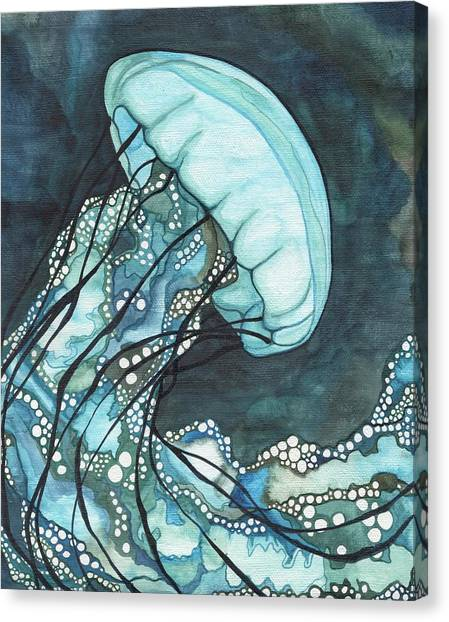 Fish Canvas Print - Aqua Sea Nettle by Tamara Phillips