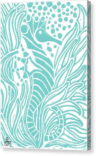 Seahorse Canvas Print - Aqua Seahorse by Stephanie Troxell