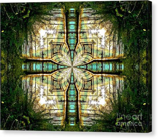 Kaleidoscope Aqua Sunrise Canvas Print