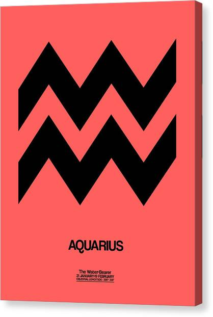 Canvas Print - Aquarius Zodiac Sign Black by Naxart Studio